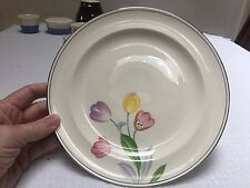"""Vintage Homer Laughlin Wells 10"""" Plate with Tulips Decal"""