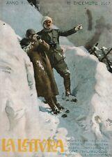 STAMPA 1917 VEDETTE ALPINE SOLDATI TRINCEA MONTAGNA NEVE GUERRA  WW1 BELTRAME