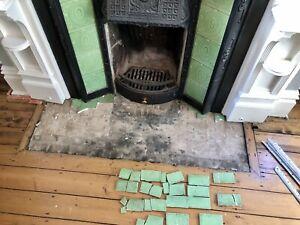 Original Edwardian Fireplace Tiles BROKEN ONES!