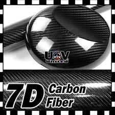 "24"" x 60"" 7D Premium Hi Gloss Black Carbon Fiber Vinyl Wrap Bubble Free Release"