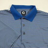 FootJoy FJ Men's Lisle Stripe Performance Golf Polo Shirt Blue Gray XL