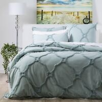 Renee Taylor Moroccan 100% Cotton Chenille Tufted Quilt Cover Set-Mineral