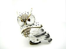 White Night Owl with Touches of Black Enamel and Crystals Cute Collectable !