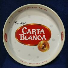 "Vtg RARE 1970s MEXICAN BEER CARTA BLANCA 13"" SERVING TRAY, MADE AT MEXICO"