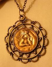 New listing Lovely Scallop Rim Brasstone Starburst Reflective Cherub Angel Pendant Necklace
