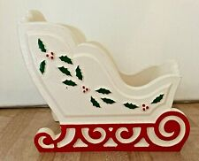 Vintage Christmas Sleigh Wooden Wood Planter Red White Green Decor 1985 USA