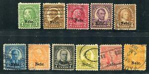 1929 Scott #669-79 Set of Nebraska Overprint Stamps Used