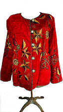 Alex Kim Jacket Size Med Wearable Art Red w/Embroidery Flowers & Leaves HTF
