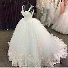 Luxus Kristall Lange Tüll Prinzessin Funkelnd Brautkleider Hochzeitskleider Neu