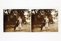 Francia La Donna A Cane Foto n46L6- Placca Lente Stereo Vintage