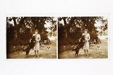 France La femme au chien Photo n46L6- Plaque Verre Stereo Vintage