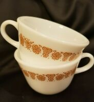 2 Coffee Cups  BUTTERFLY GOLD Restaurant  Ware Corelle Corning Mugs