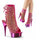 PLEASER Delight-1018MS Pink Iridescent Rhinestones Chrome Club Ankle Boots Heels