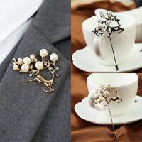 Fashion Men Crystal Pearl Deer Badge Corsage Lapel Stick Gold Broach Brooch Pin