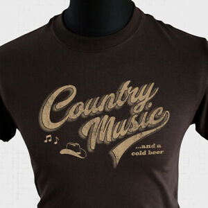 Country Music and a Cold Beer T Shirt Cool Fun Western Music Nashville Brown
