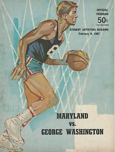 George Washington GWU Colonials - Maryland Terps Basketball Program Feb. 9, 1967