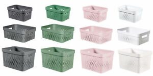 Curver Plastic Dots Storage Basket Container Trays Tubs Kitchen Office Bathroom