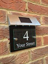 MODERN HOUSE SIGN PLAQUE DOOR NUMBER STREET GLASS EFFECT GLOSS BLACK SOLAR LIGHT