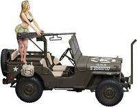 Hasegawa 1/24 1/4 ton UTILITY TRUCK Cal.50 M2 MACHINE GUN w/BLOND GIRL'S FIGURE