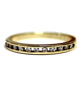14k yellow gold .16ct SI2 H womens diamond wedding ring 2.2g estate band 7