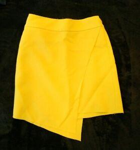Topshop Tall Bright Yellow Layered Short Mini Smart Skirt Size UK 10