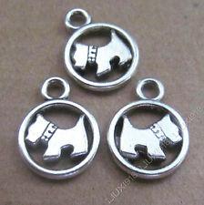 10pc Tibetan Silver 2-Sided Dog Animal Charms Pendant Jewellery Making B546P