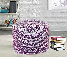 Indian Mandala Pouf Cover Ottoman Cotton Floor Pillow Boho Brown Decor Footstool