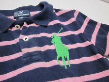 Polo Ralph Lauren BiG PONY Polo Boys 4/4T Shirt Navy Pink Striped Lime Pony Logo