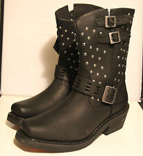 Harley Davidson Women's Sz 8 Shirley Black Studded Leather Boots D83714 NEW