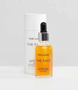 Tan-Luxe The Face Illuminating Self-Tan Drops Light/Medium NIB 30ml/1.01oz