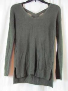 NWT Hippe Rose Green XS Sweater Long Sleeve Back X-Cross Detail Org $44.00