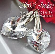 925 STERLING SILVER EARRINGS CRYSTALS FROM SWAROVSKI® 14MM HEART - CRYSTAL CAL