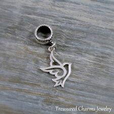 925 Sterling Silver Peace Dove Dangle Bead Charm - fits European Bracelets NEW