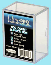ULTRA PRO 100 COUNT CLEAR 2-PIECE CARD STORAGE BOX NEW Case Sport Gaming Slider