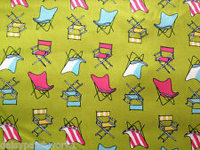 Deck Chairs Cotton Fabric Metre Beach Garden Camping Camp Green Pink Summer 1m