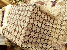 THIN Thread-Taupe Vtg LARGE HAND Crochet Lace Tablecloth Medallion ANTIQUE Style
