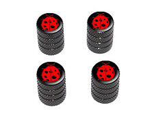 Ladybug Red Lady Bug On Black - Tire Rim Valve Stem Caps - Black