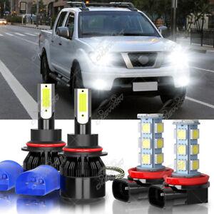 9007 LED Headlight High Low + H11 Fog Light Bulb For Nissan Frontier 2006-2019