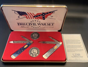 1988 CASE XX CIVIL WAR GUNSTOCK POCKET KNIFE SET LIMITED EDITION