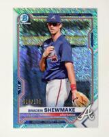 2021 Bowman Prospects Chrome Aqua Shimmer #BCP-48 Braden Shewmake /125 - Braves