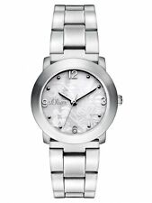 s.Oliver Damenuhr Uhr Edelstahl matt Blumen SO-2792-MQ