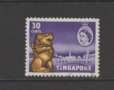SINGAPORE 1959 30c VIOLET, YELLOW & SEPIA NEW CONSTITUTION Nice Used