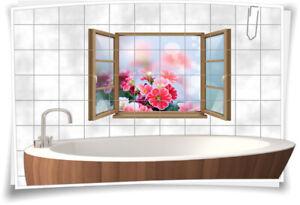 Fliesen-Aufkleber Fliesen-Bild Fenster Blumen Blumenstrauß Harmonie Glück Deko