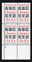 SCOTT #2015 20-cent Libraries of America - PLATE BLOCK of 4, MNH, OG, F-VF
