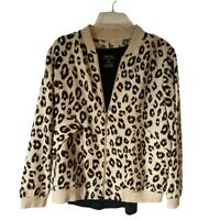 Chicos Womens Bomber Jacket And Top Set Beige Black Leopard Zip Up Large New