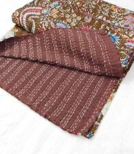 Indian Kantha Stitched Twin Size Quilt Ikat Reversible Bedspread Blanket Throw