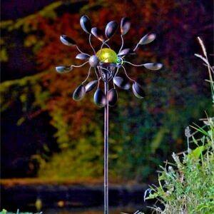 Solar Power LED Copper Wind Spinner Garden Stake Decor Unique Light Crackle Ball