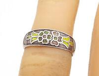 925 Silver - Vintage Antique Petite Enamel Coated Floral Band Ring Sz 5 - R17180