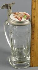 Antique German Beer Stein Glass Pewter Eagle Lady Portrait Medallion Lid