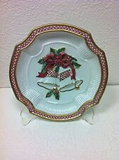 """Fitz And Floyd Jingle Bell 9"""" Canape Christmas Plate Brand New In Box"""